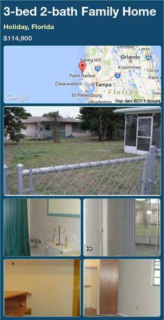 3-bed 2-bath Family Home in Holiday, Florida ►$114,900 #PropertyForSale #RealEstate #Florida http://florida-magic.com/properties/75202-family-home-for-sale-in-holiday-florida-with-3-bedroom-2-bathroom