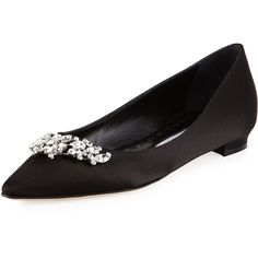 Manolo Blahnik Lurum Crystal-Embellished Satin Flat (3.900 RON) ❤ liked on Polyvore featuring shoes, flats, black, shoes ballerina flats, pointed toe flats, black ballet flats, black satin flats, black ballet shoes and ballerina flats