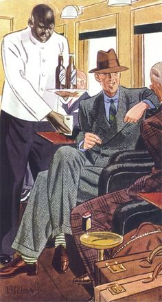 Green tweed suit - Laurence Fellows (1885-1964) Note: Seeing the Black gentleman-I'm on a personal quest to find the first High Fashion Illustrations of Black Men and Women used in Fashion Magazines.