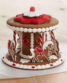 Handmade Gingerbread Carousel Cookies Delivery : This Whimsical Holiday Gift Puts A New Spin On The Classic Gingerbread House. Each Piece Of Spicy Gingerbread I Gingerbread House Designs, Gingerbread Village, Christmas Gingerbread House, Noel Christmas, Gingerbread Man, Gingerbread Cookies, Holiday Baking, Christmas Desserts, Holiday Treats