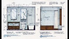 Candice Olson Sketch - I want to be this good. Interior Design Renderings, Interior Design Classes, Drawing Interior, Interior Rendering, Interior Sketch, Interior Architecture Drawing, Chinese Architecture, Plan Autocad, Bathroom Drawing