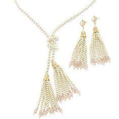 "Vanderpump Simulated Pearl & Glass Bead ""Laura"" Tassel Necklace & Earrings Set"