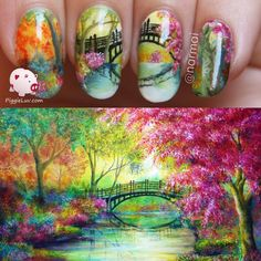 I did twin nails with my friend Amanda from Lady Maid Nails to celebrate her birthday/blogiversary! We both recreated this painting by Ann Marie Bone, come check out our manis!