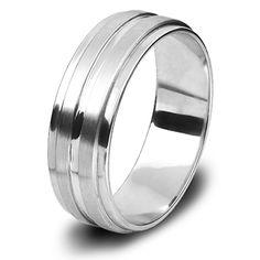 9ct White Gold Gents Wedding Ring Beveled Edges Deep Centre Groove Centre, Rings For Men, Bands, White Gold, Wedding Rings, Deep, Engagement Rings, Jewels, Design