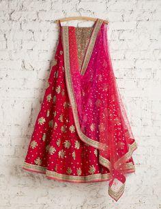 SwatiManish Lehengas| 108 SMF LEH 109 17 | Lipstick red lehenga with socking pink orange dupatta and golden coral blouse