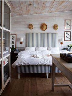 ticking headboard, white comforter