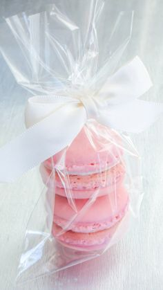 Shower Favor - maybe burlap tie instead of the bow and obviously more laura style colors of macarons