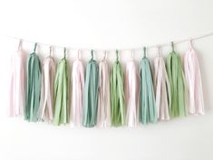 Excited to share the latest addition to my #etsy shop: Blush Sage Tissue Paper Tassel Garland Greenery Garland Neutral Wedding Garland Balloon Tassel Floral Spring Party Decor Birthday Backdrop