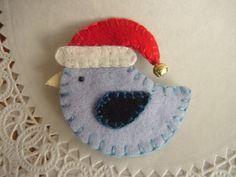 Christmas Blue Bird Santa Hat Pin Brooch Wool by pennysbykristie