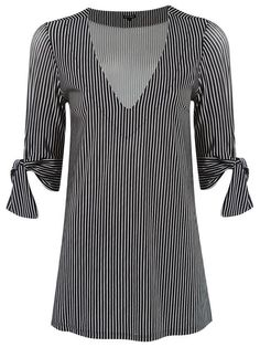 Dear Stitch Fix - I really like the v neck, vertical stripes, and length/cut of this top...the arm ties are cool, too!