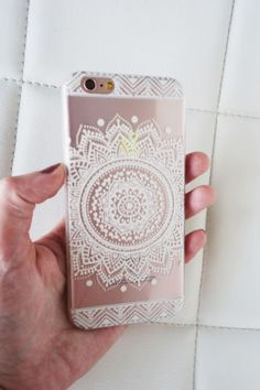 Mandala henna design clear iPhone 6 6S case featuring a white mandala indie boho chic circle silicone jelly fashion phone cover - US seller, fast shipping.