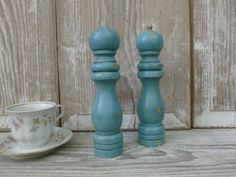Pair of Wooden Salt and Pepper Shakers Painted by beckibees, $20.00