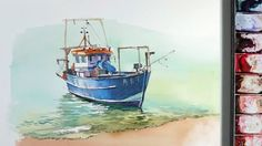 Line and wash Watercolor :a small fishing boat near the beach