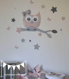 Stickers hibou et ses 16 étoiles - rose poudré argent gris - décoration chambre fille bébé rose poudré argent