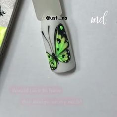 Loving this adorable butterfly art on our nail! Loving this adorable butterfly art on our nail! Butterfly Nail Designs, Butterfly Nail Art, Rose Nail Art, Butterfly Artwork, Nail Art Designs Videos, Nail Design Video, Nail Art Videos, Nail Art Hacks, Nail Art Diy