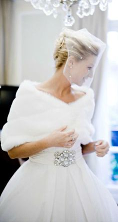 So sweet and classic! I love this Wedding Attire ● White Winter Wrap