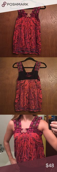 Free People Tank Free People boho tank with ribbon embroidered straps. Elastic in hem on bottom. Small Mirror embellishment on top. Size small good condition barley worn Free People Tops Tank Tops