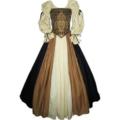 Ornate Bodice Gown ❤ liked on Polyvore featuring dresses, gowns, medieval, costumes and long dress