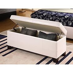 @Overstock.com - White Synthetic Leather Storage Bench - Help eliminate household clutter while at the same time adding a comfortable seating area with this contemporary storage chest. At an ample 48 inches wide, this bench provides eight cubic feet of storage for clothes, linens, toys, books, and games.  http://www.overstock.com/Home-Garden/White-Synthetic-Leather-Storage-Bench/4458329/product.html?CID=214117 $166.99