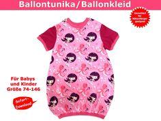 Ballontunika/Ballonkleid für Kinder und Babys Liberty Of London, Baby Sewing, Diy For Kids, Polka Dot Top, Flamingo, Sewing Patterns, Creations, Cold Shoulder Dress, Chiffon