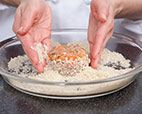 Easy Salmon Cakes :: America's Test Kitchen. Used white fish, half the salt, half the lemon juice.