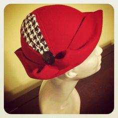 Crimson Red Hand Blocked Wool Cloche Hat by BaublesAndWhatnots,  SOLD