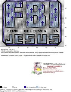 """""""FBI - firm believer in Jesus"""" mousepad Plastic Canvas Ornaments, Plastic Canvas Tissue Boxes, Plastic Canvas Christmas, Plastic Canvas Crafts, Plastic Canvas Patterns, Christian Crafts, Bible Covers, Canvas Signs, Tissue Box Covers"""