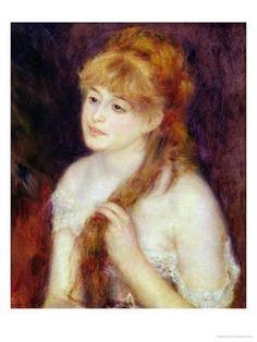 Young Woman Braiding her Hair 1876 Canvas Art - Pierre-Auguste Renoir x Pierre Auguste Renoir, Charles Gleyre, August Renoir, Oil On Canvas, Canvas Art, Hair Canvas, Art Pierre, Renoir Paintings, Portrait Paintings