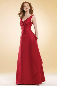 Elegant A-line V-neck Ruched Floor Length Red Satin Bridesmaid Dress