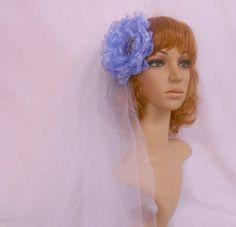 Wedding Hair Flower,Blue Organza Bridal Heapiece,Wedding Hair Accessory, Flower Bridal Hair Ornament
