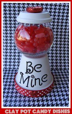 Be Mine- Clay pot candy jar