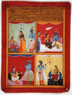 Shah ud Din. Four types of lovers. Series: Connoisseur's Delight, Suite: Rasikapriya, Opaque watercolor and gold on paper, Mewar, 1630-1640, The San Diego Museum of Art