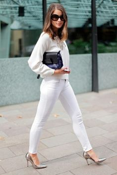 All White Party Outfit Ideas For Women: Street Style Inspiration 2019 Jeans Skinny Branco, White Skinny Jeans, White Pants, White Denim, White Skinnies, All White Party Outfits, All White Outfit, Street Style Inspiration, Fashion Inspiration