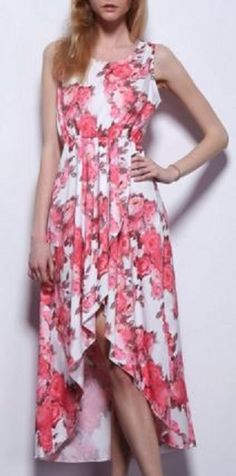 Elegant Pink and White Floral Summer Dress Fashion! Ladylike Sleeveless Pink Floral Print Asymmetric Dress For Women #Elegant #Pink_and_White #Floral #HiLo #Garden_Party #Dresses #Fashion