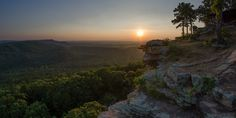 Sunset in Petitjean State Park in Arkansas landscape Nature Photos Petit Jean State Park, Mountain Music, Adventure Is Out There, Go Camping, Ocean Beach, Science And Nature, Nature Photos, Arkansas, Wilderness