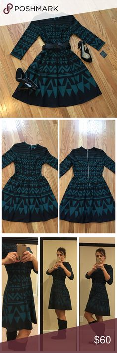 """Gabby Skye Women's Fit & Flare Dress Sz 8 NWT  Gabby Skye Women's Fit & Flare Printed Dress Sz 8 NWT.  This dress is very classy, hugs in all of the right places, and is very versatile! You can dress it up with a belt and your favorite heels, OR Simply throw on a pair of flat boots and still rock it (demonstrated in pic #3 - for reference, I am 5'5"""").  97% Polyester, 3% Spandex. NWT Perfect Condition!  Smoke Free, Pet Free Home. Gabby Skye Dresses"""