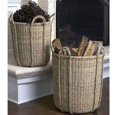 Hampton Nesting Baskets,,, these are sturdy well made fun baskets Home Decor Baskets, Basket Decoration, Baskets On Wall, Wood Basket, Rattan Basket, Bountiful Baskets, Fireplace Accessories, Wood Storage, Basket Weaving