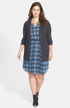 Halogen® Chiffon Dress & Sejour Merino Wool Cardigan (Plus Size)  available at #Nordstrom