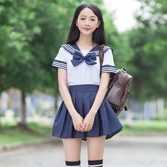 セーラースーツ学校制服セットおしゃれな学校制服用女の子白いシャツとダークブルースカートスーツ学生コスプレ