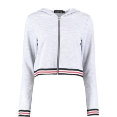 Boohoo Roxy Crop Hooded Sports Jacket (75 RON) ❤ liked on Polyvore featuring outerwear, jackets, layered jacket, longline bomber jacket, bomber jackets, sports bomber jacket and sports jacket