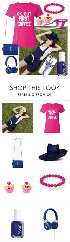 """""""DARK BLUE & NEON PINK"""" by majami05 ❤ liked on Polyvore featuring Yves Saint Laurent, Piers Atkinson, Sydney Evan and Essie"""