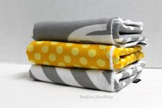 BagEnvy Handbags'  Burp Cloths  Set Of 3  Grey and by BagEnvy