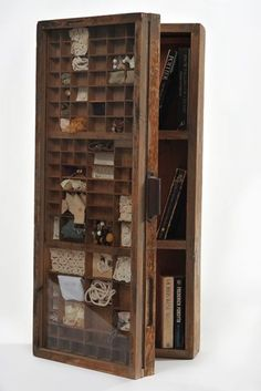 Printers Tray Cupboard by Recreate. Printers Tray Cupboard by Recreate. Shadow Box, Letterpress Drawer, Printers Drawer, Diy Vintage, Modern Art Movements, Cabinet Of Curiosities, Displaying Collections, Innovation Design, Decoration