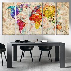 Canvas Art Print Watercolor World Map, Large Wall Art World Map Art, Extra Large Vintage World Map Print for Home and Office Wall Decoration