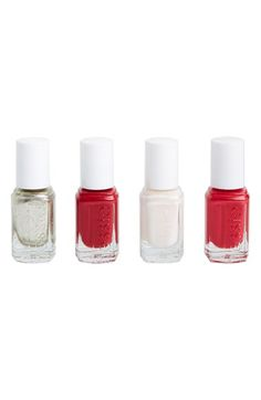 Free shipping and returns on Essie  'Winter 2014' Mini Four-Pack at Nordstrom.com. Celebrate the season with a collection of stunning nail polishes by essie tucked into four mini bottles so your manicure stays fresh and gorgeous as the parties roll on. Each shade is formulated without DBP, toluene and formaldehyde.<br><br>Shades include:<br>- Jiggle Hi Jiggle Low (0.16 oz.)<br>- Tuck It In My Tuck (0.16 oz.)<br>- Double Breasted Jacket (0.16 oz.)<br>- Jump In My Jumpsuit (0.16…