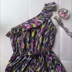 """🎉🎉 Host Pick!!! One shoulder colorful dress White, pink, lime green and gray colors. Super fresh, chic and comfortable. Perfect for this season! Great condition! Feel free to make an offer! Or to bundle with anything you like ! :) 🎉""""Date Night"""" Party Host Pick! O7. 11. 15 BeBop Dresses"""