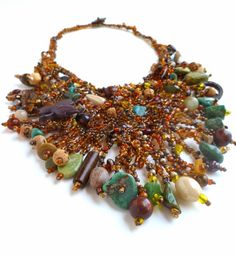 Forest in fall II free form peyote stitch necklace by Cesart64