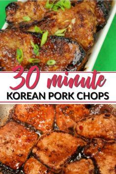 Korean Pork Chops offer an explosion of flavor that will make you love boneless pork chops again!These Korean Pork Chops offer an explosion of flavor that will make you love boneless pork chops again! Pork Sirloin Chops, Asian Pork Chops, Boneless Pork Loin Chops, Chinese Pork Chops, Crockpot Boneless Pork Chops, Recipe Using Boneless Pork Chops, Pork Chop Recipes, Korean Pork Chop Recipe, Healthy Recipes