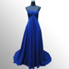 Empire Strapless Blue Chiffon Sweep Train Evening Dress/e103 ...comes in midnight blue