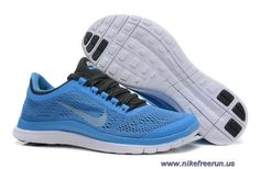 8a2db03e0fb8 Womens Nike Free 3.0 V5 Distance Blue Black Chambray Blue White Running Shoes  Outlet